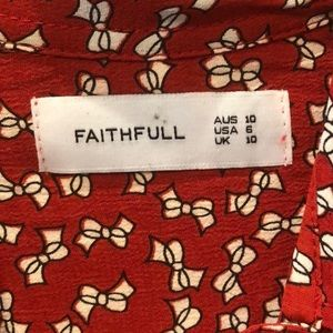 Faithfull the Brand Tops - Faithful the brand tie front bow printed top